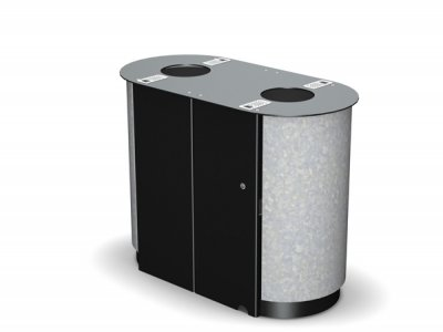 ARC 4D - PPC black frame dual Arca litter bin with galvanised finished panels and cigarette stubber