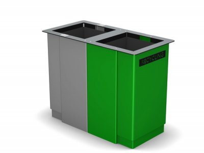 ARC 6D - PPC grey and green dual Arca bin with cigarette stubber & laser cut graphics