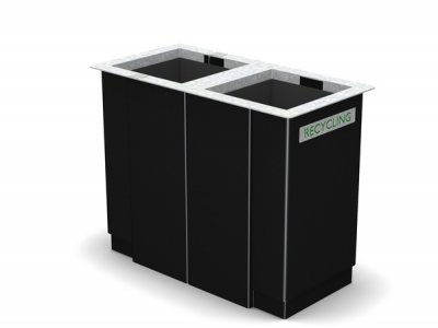 ARC 6D  - PPC black dual Arca bin with stainless steel rim, cigarette stubber & laser cut graphics