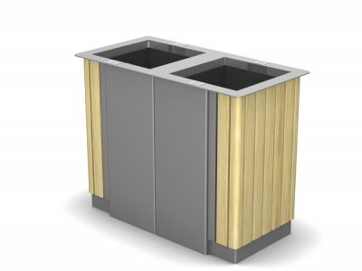 ARC 6DT - PPC grey dual Arca litter bin with iroko timber slats and cigarette stubber