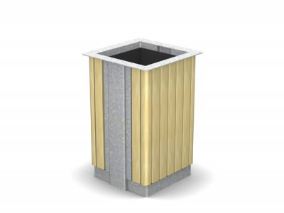 ARC 6T - galvanised finish steelwork Arca litter bin with iroko timber slats
