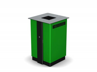 ARC 7 - Arca litter bin PPC black steelwork & green body with laser cut graphics
