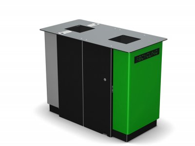 ARC 7D - PPC black dual Arca litter bin with PPC grey and green panel, cigarette stubber & laser cut graphics