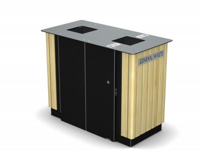 ARC 7DT - PPC black dual Arca litter bin with iroko timber slats, cigarette stubber & laser cut graphics