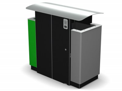 ARC 8D - PPC dual Arca litter bin with stainless steel lid, aperture rims and cigarette stubber