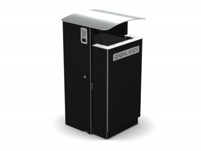 ARC 8F - PPC black Arca litter bin with stainless steel lid, aperture rim, cigarette stubber & laser cut graphics