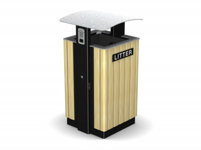 ARC 8T - PPC black steelwork Arca litter bin with lid, iroko timber slats, cigarette stubber & laser cut graphics