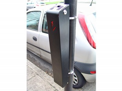 ASH290 PRB Ashby Slimline post mounted cigarette bin, black powder coated steel with red liner