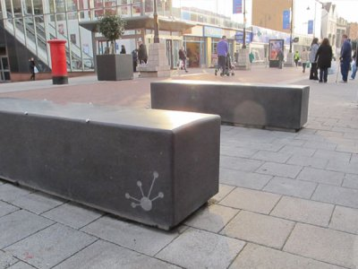 BLR200 Blyth concrete bench with local authority branding (special)