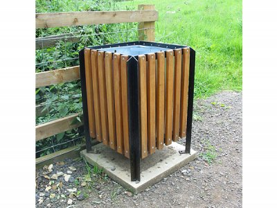 Balmoral Bolt Down Timber Slatted Litter Bin Square