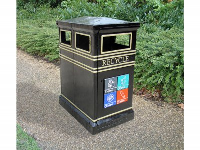 COV722 LR Covent Garden Recycling dual litter bin with plaque