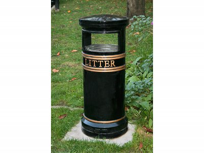 COV802 LR Covent Garden Small Circular cast iron litter bin
