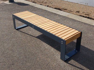 Elements 1.8m bench with medium timber slats and powder coated steel frame (ELMG100N1610-BENCHNG)