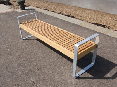 Elements 1.8m bench with small timber slats, timber fascias, open frame supports with integral arms (ELMF105F3434-BE5CTNG)