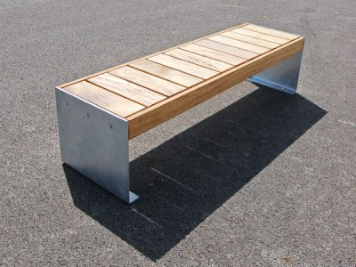 Elements 1.8m bench with large front to back timber slats and galvanised plate ends (ELMH105P7070-BENCHNG)