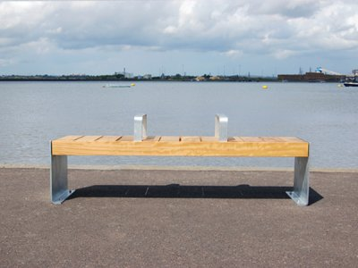 Elements 1.8m bench with large timber slats, timber fascias, galvanised plate ends and armrests (ELMH105P7070-BENCVNG)