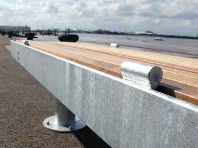 Elements 1.8m posts bench with galvanised steel fascias and anti-skate devices