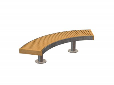 Curved Elements bench with galvanised steel fascia and posts (special)