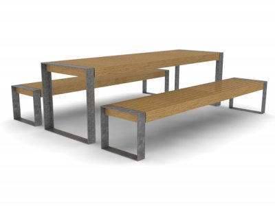 Elements 2600mm long x 810mm standard picnic table with timber slats, timber fascias and galvanised picture frame supports, shown with 2 no. benches