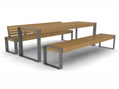 Elements 2600mm long x 810mm standard picnic table with timber slats, timber fascias and galvanised picture frame supports, shown with bench and 1no. bench with backrest