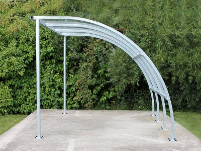 FIN3 ECO Fin Economy cycle shelter with galvanised steel frame - side view