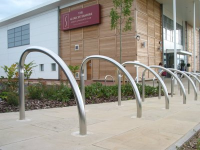 FIN600 S Fin satin polished stainless steel cycle stands