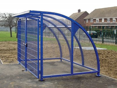 FIN800F PPC F DOORS Fin powder coated steel cycle shelter