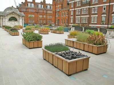 Steel and timber planters, supplied to Brown Hart Gardens