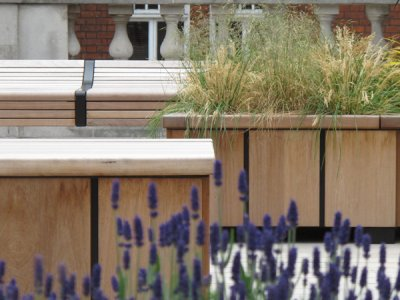 Steel and timber planters, as supplied to Brown Hart Gardens