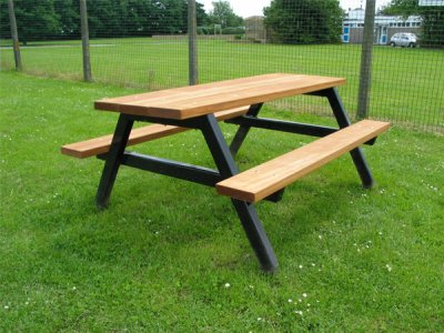 P204 Ploughman steel and timber picnic benches and table