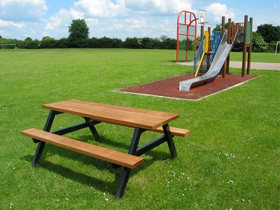 P206 Ploughman steel and timber picnic benches and table