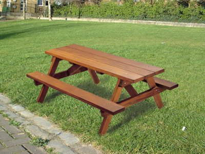 P104 Ploughman all timber picnic benches and table