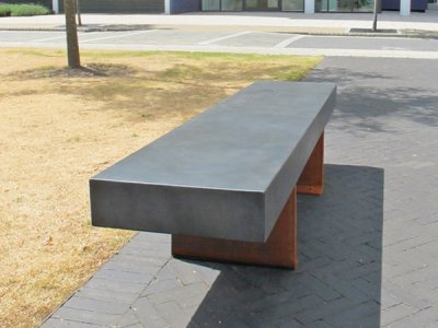 PDS1 Podium seat platform with L45Z plate individual seat supports in corten steel