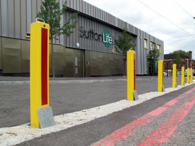 TPS 700 PPC Square Telescopic bollards with red reflective strips (available on request)