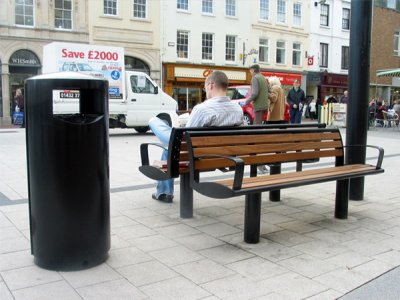 ZEN500 Zenith powder coated steel litter bin with cigarette stubber and ash waste liner, shown with the Zenith seat