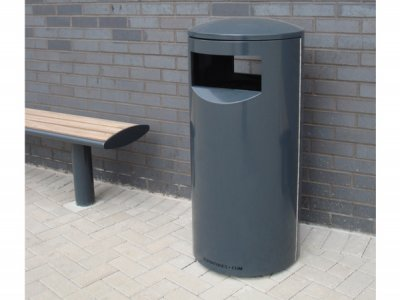 ZEN500 Zenith powder coated steel litter bin, shown with the Zenith Bench