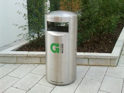 ZEN500 Zenith satin polished stainless steel litter bin with vinyl logo (special commission)