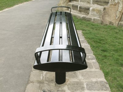 Zenith powder coated black, all steel bench with end arms
