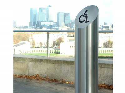 Zenith satin polished stainless steel bollard with etched logo