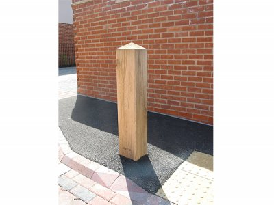 Garrick Green Oak Hardwood Timber Bollard - installed at St Andrews Hospital, Northampton