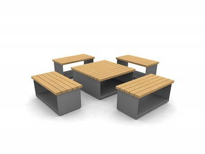 Hollo long form seating & large cube table arrangement