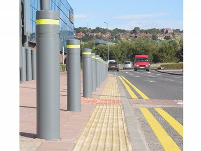 Kenton Double Neck Steel Security Bollard - fitted with yellow reflective tape, supplied to Metro Retail Park, Gateshead
