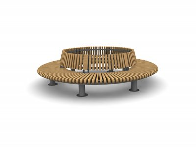 RailRoad Loop seating assembly comprising curved Start & End modules, with internal backrest.