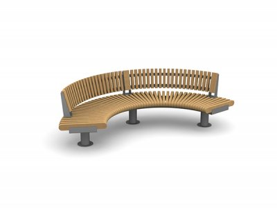 RailRoad Loop seat assembly comprising curved Start & End modules with curved external backrests.