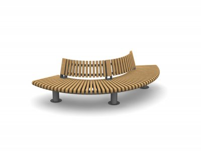 RailRoad Loop seat assembly comprising curved Start & End modules with curved internal backrests.