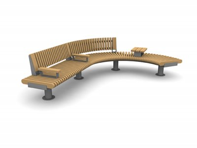 RailRoad Loop bench assembly comprising straight Start & curved Mid & End modules, with part-length backrest, timber-topped armrests and tablet surface.