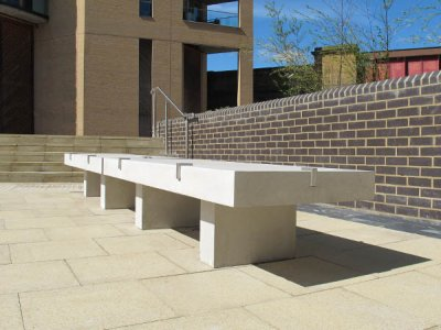 PDS2 Podium seat platform fitted with anti skate devices and L45C concrete block seat supports