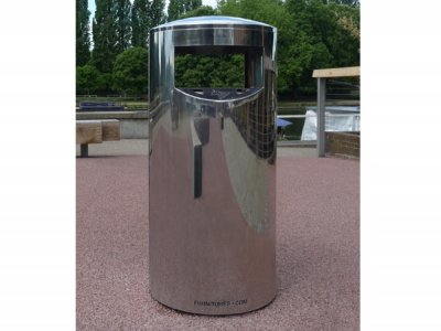ZEN500 Zenith stainless steel, bright polished litter bin with cigarette stubber and ash waste liner