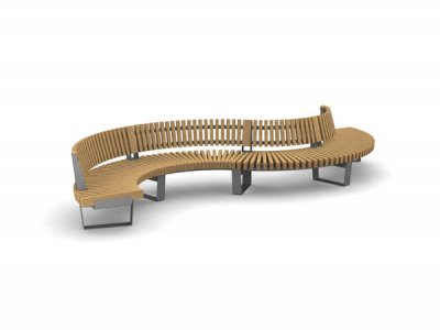 RailRoad Delta seat assembly comprising curved Start, Mid & End modules in waveform layout, with full length backrest.