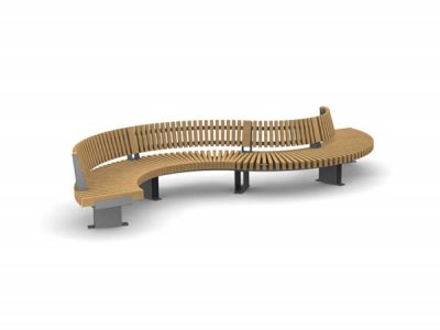 RailRoad Edge seat assembly comprising curved Start, Mid & End modules in waveform layout, with full length backrest.